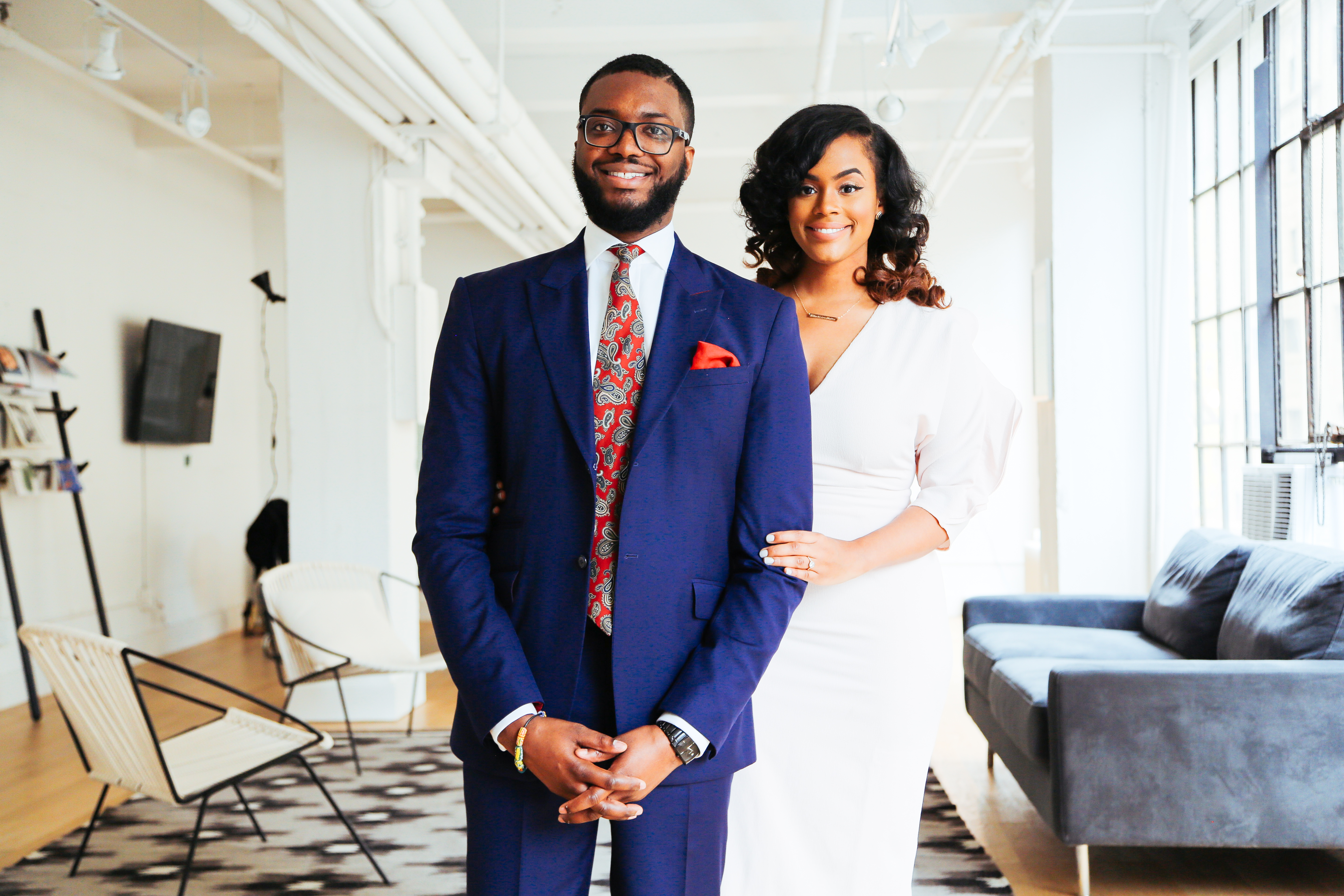 chic black couple engagement photos nyc
