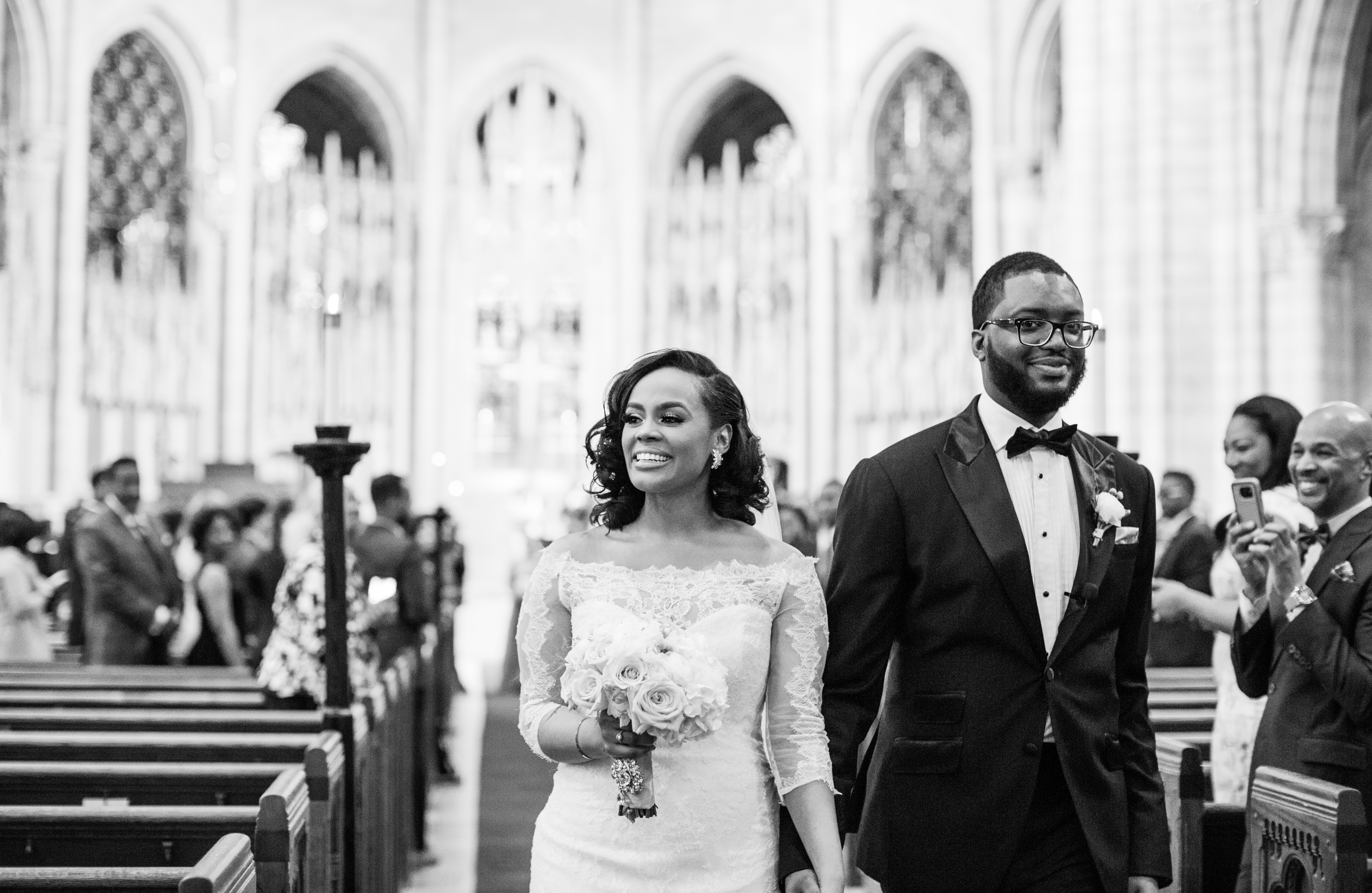 Chic black couple wedding day riverside church