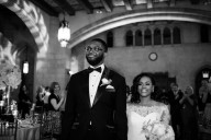 chic black couple wedding reception entrance