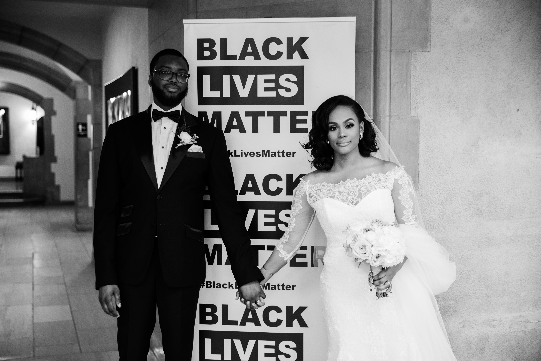 black couple wedding day black lives matter