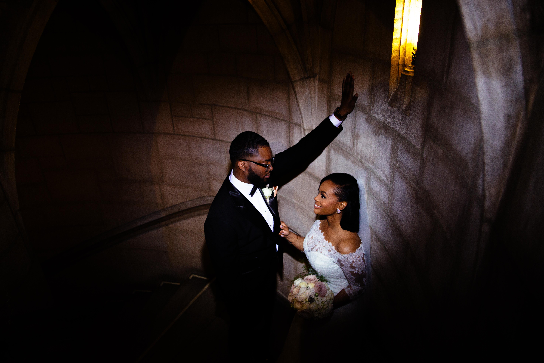 black couple wedding portraits riverside church