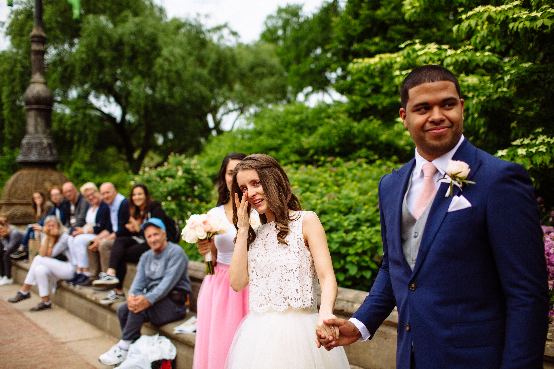 Newlyweds at Central Park New York Summer Wedding