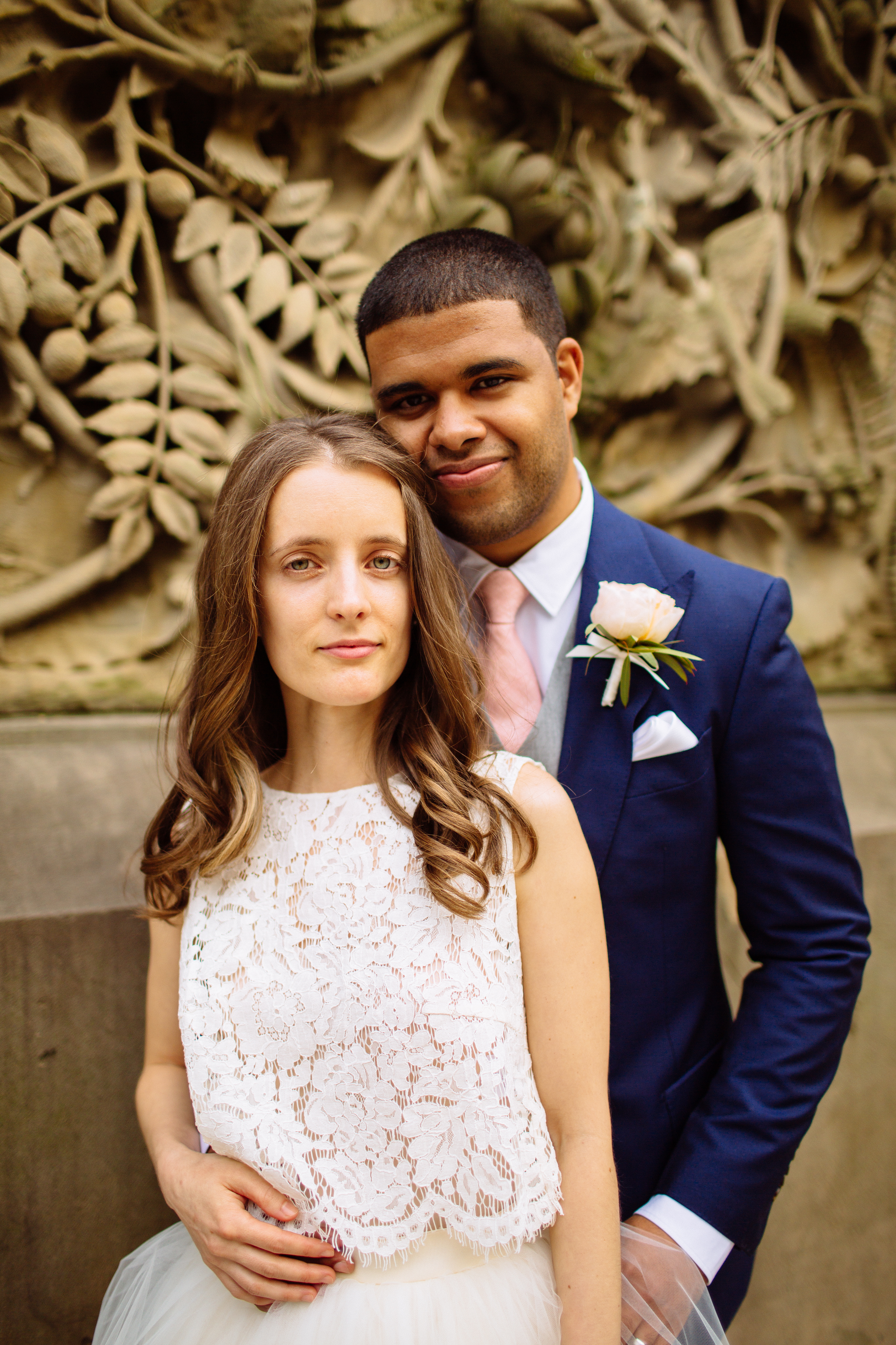 Wedding Photos in New York Lace dress blue suit