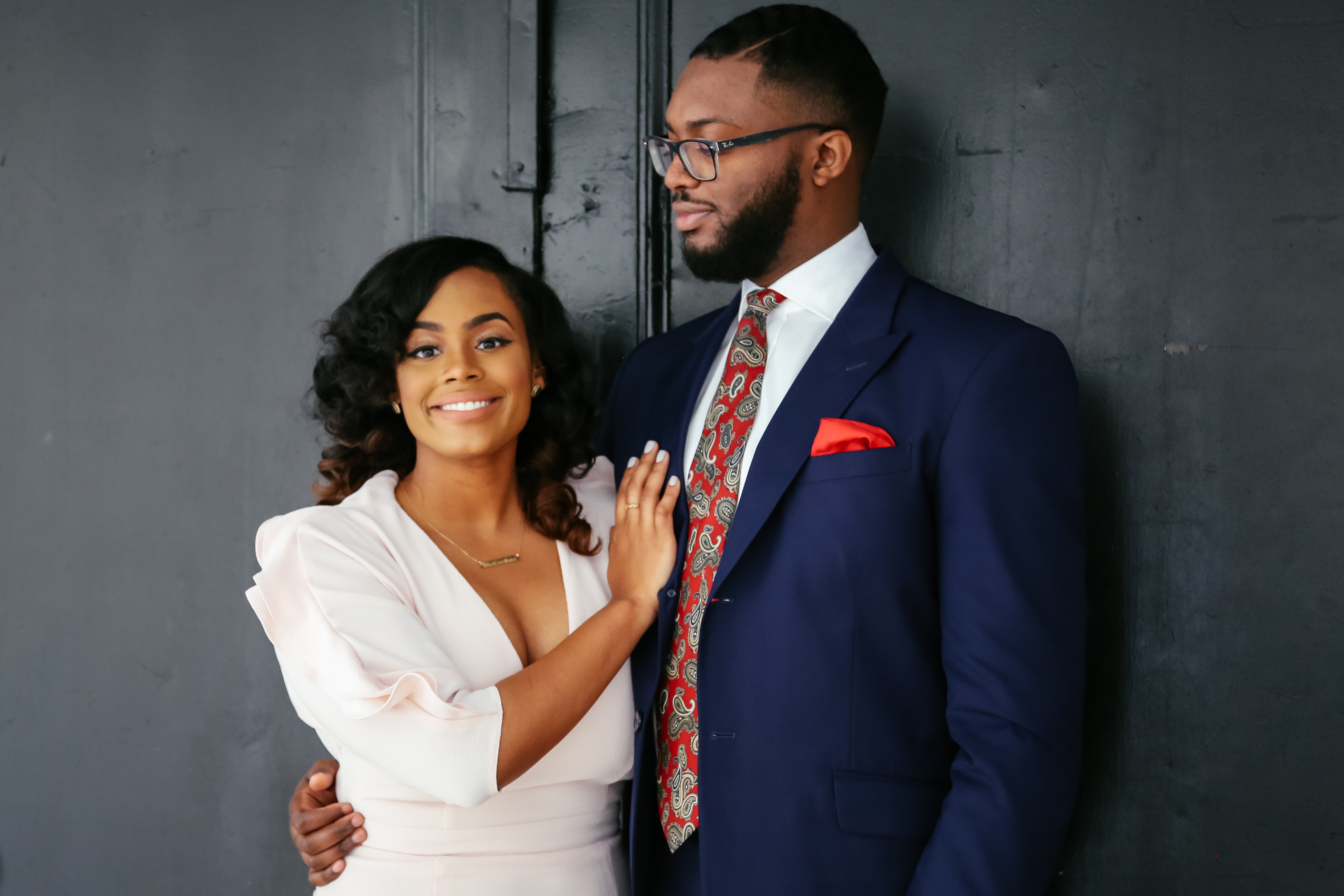 classy black couple engagement photos