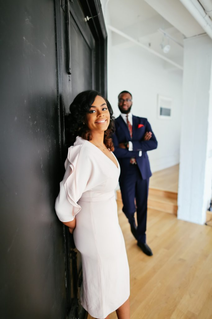 fashion forward black couple engagement photos