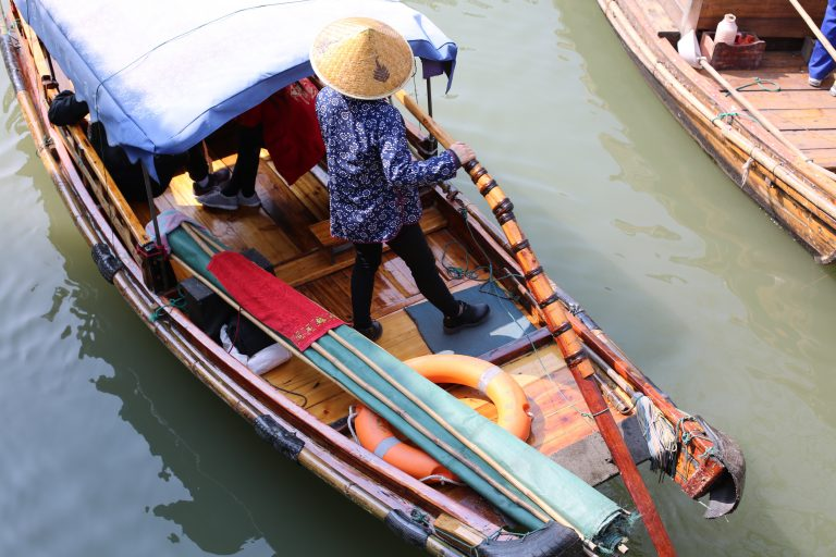 chinese water town boat
