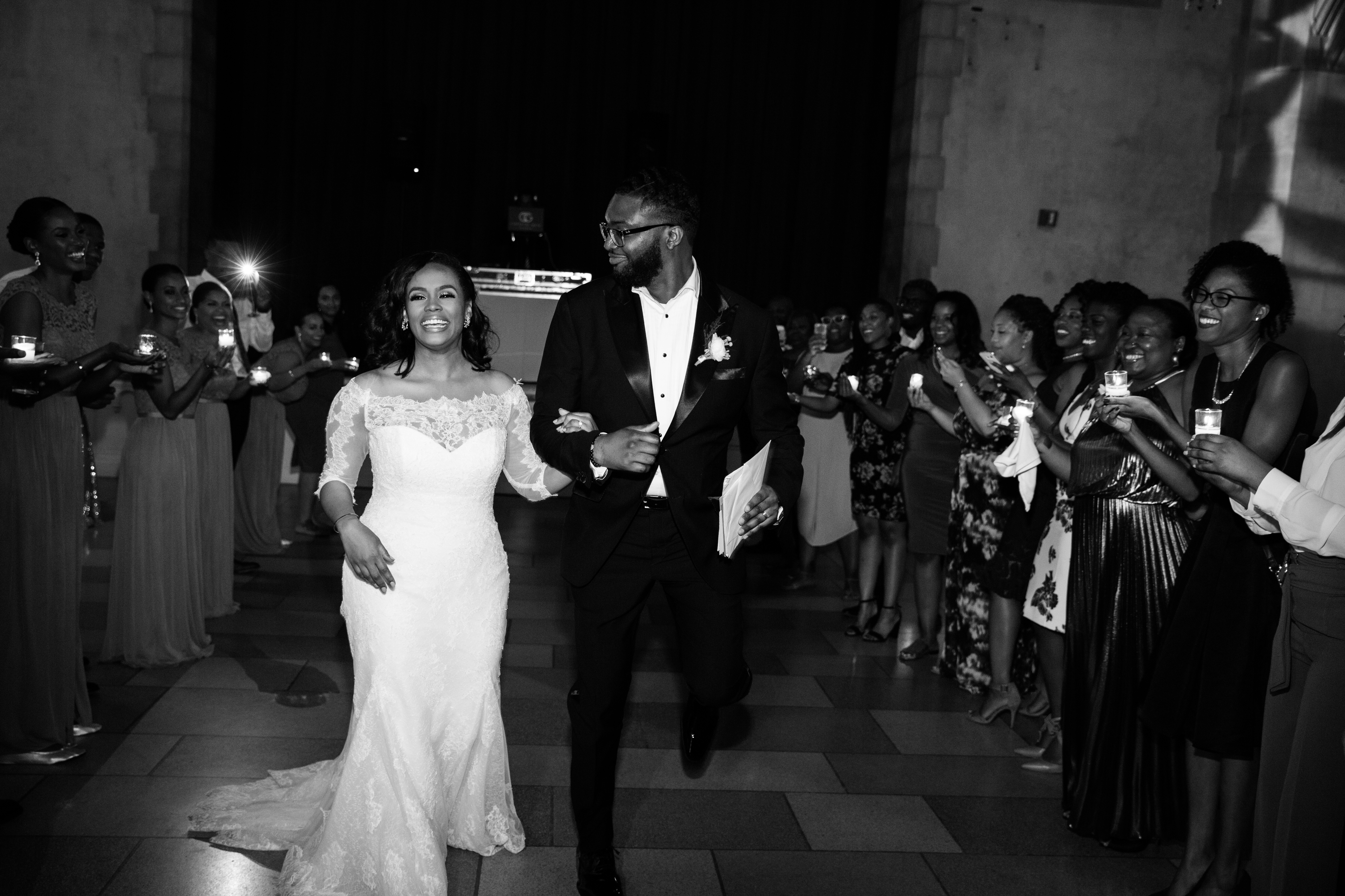 chic black couple wedding reception exit