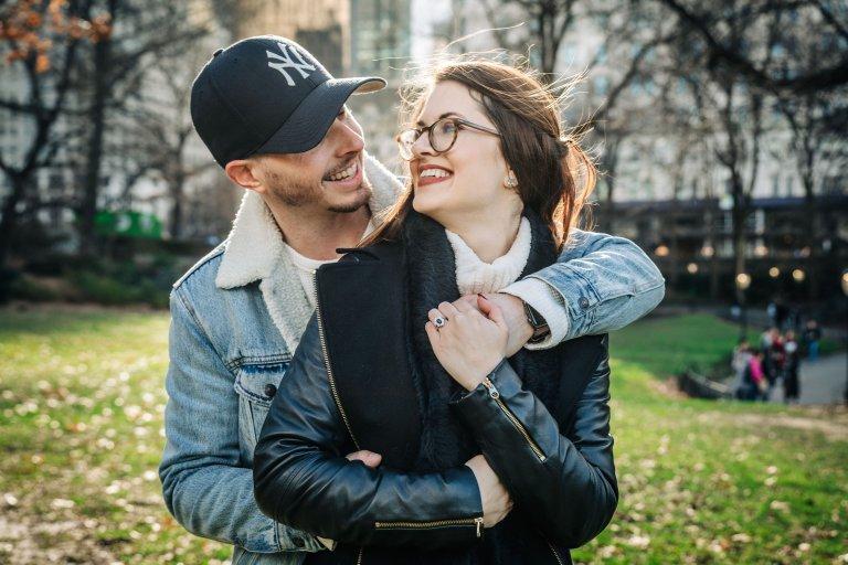 New york city couple proposal happy couple central park modern wedding photograhpy