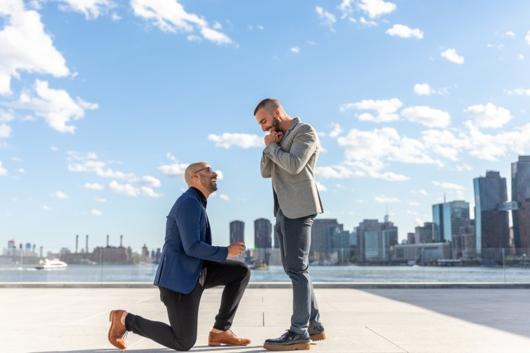 Same sex couple proposal roosevelt island well dressed happy he said yes